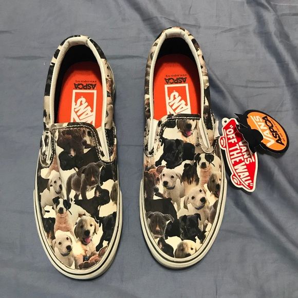 17c4b3a1469 RARE NEW VANS ASPCA DOGS Canvas Slip Ons Shoes 8.5